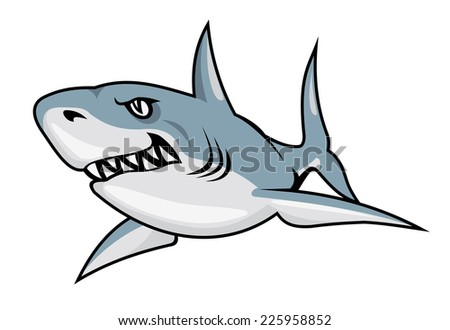 Cartoon shark isolated on white background for mascot design - stock vector