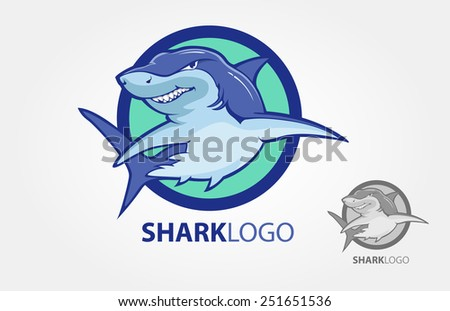 Cartoon shark logo with s circle as a background - stock vector