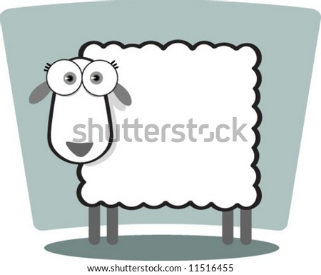 Cartoon Sheep in Black and White - stock vector