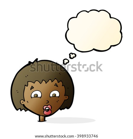 cartoon shocked expression  with thought bubble - stock vector