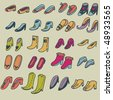 Cartoon shoes. Vector set - stock vector