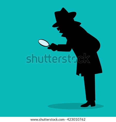 Cartoon silhouette of a detective with magnifying glass - stock vector