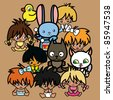cartoon singing animals and children - stock vector