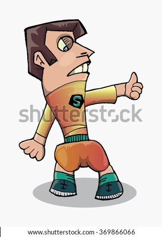 cartoon single standing man with thumb up isolated on white vector illustration - stock vector