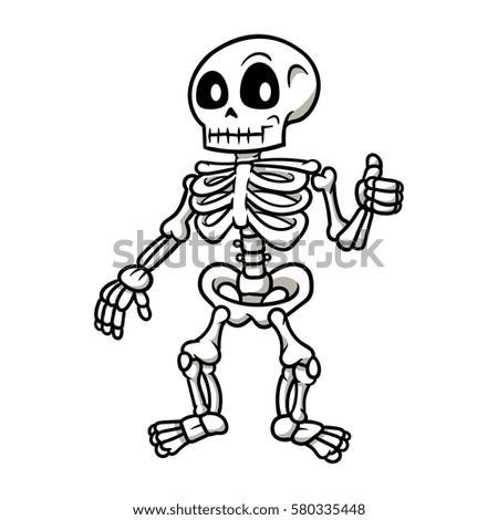 Cartoon Skeleton Giving Thumbs Vector Illustration Stock Photo