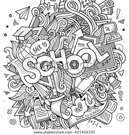 Cartoon Sketchy Hand Drawn Doodle On The Subject Of Education Design Background With School