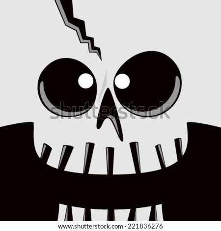 Cartoon Skull Face - stock vector