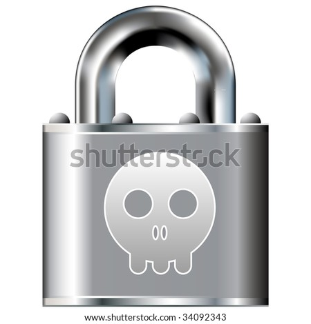 Cartoon skull icon on secure vector lock button.  Suitable for use on websites, in print, and on brochures. - stock vector