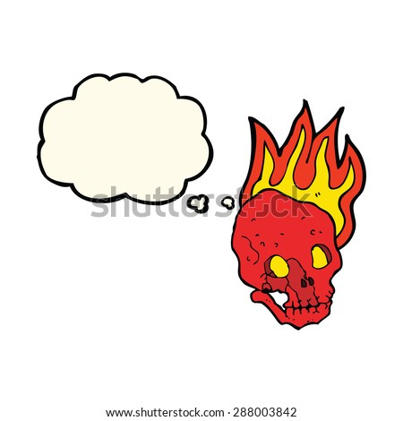 cartoon skull on fire
