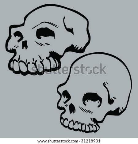 cartoon skulls - stock vector