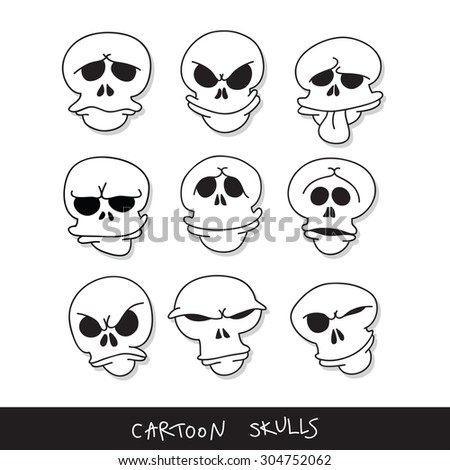 Cartoon skulls emoticons.