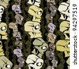 Cartoon skulls seamless pattern, vector background. - stock vector