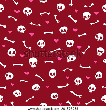 Cartoon Skulls with Hearts on Red Background Seamless Pattern. Editable pattern in swatches. - stock vector