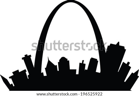 Cartoon skyline silhouette of the city of St. Louis, Missouri, USA. - stock vector