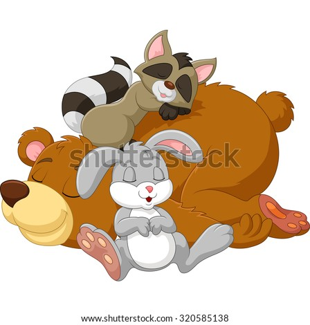 Cartoon Sleeping Animals Isolated On White Stock Vector ...