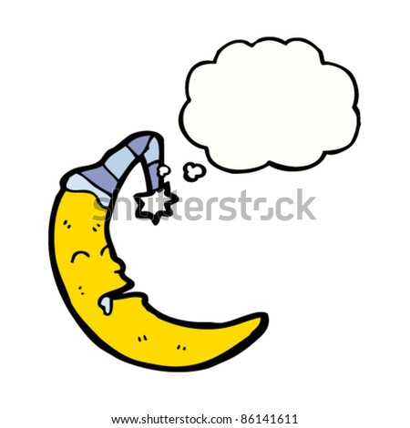 cartoon sleeping moon
