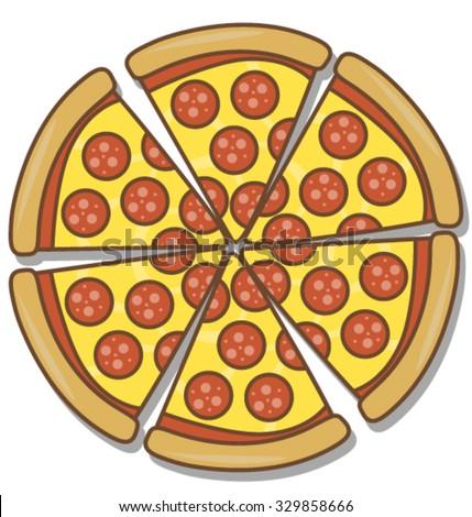 Cartoon Sliced Salami Pizza Isolated on White - stock vector