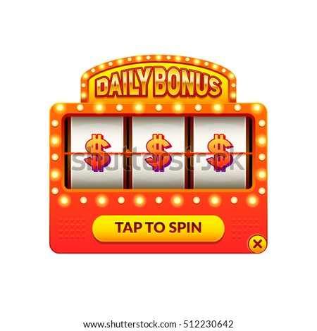 Cartoon slot machine. Daily bonus. Gambling game. Eps10 vector slots illustration.