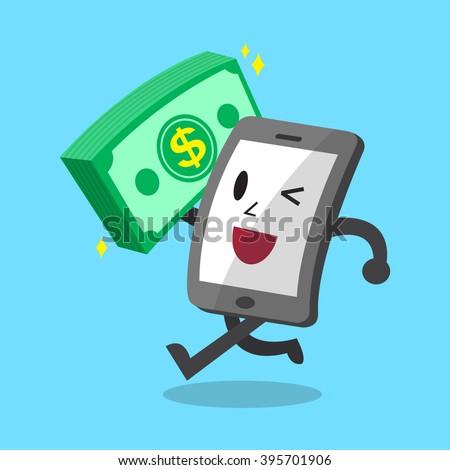Cartoon smartphone carrying big money stack - stock vector