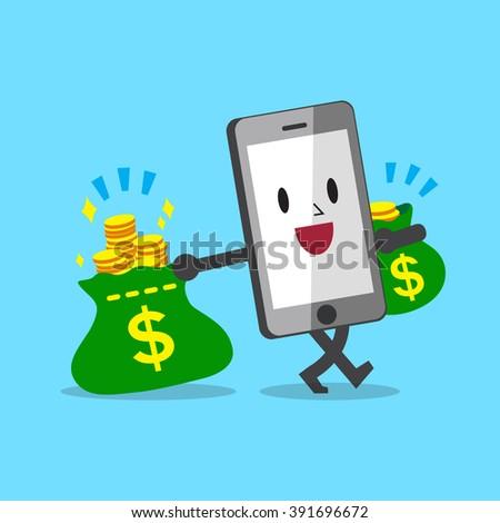 Cartoon smartphone carrying money bags - stock vector