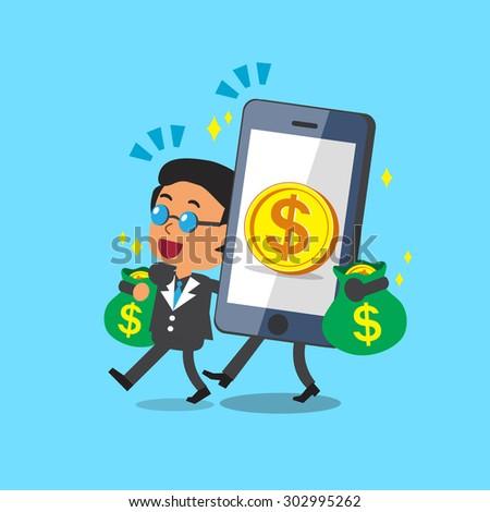Cartoon smartphone help business boss to earn money - stock vector