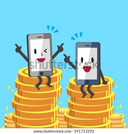 Cartoon smartphones sitting on money coins - stock vector