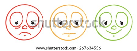 cartoon smiley emoticon face set - stock vector
