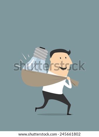 Cartoon smiling businessman character in flat style stealing light bulb as idea symbol suited for intellectual property and copyright concept design - stock vector