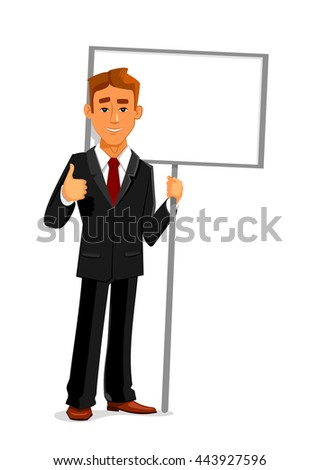 Cartoon smiling businessman is holding a blank sign board with copy space and showing thumb up sign. Business concept for advertising, presentation or announcement design - stock vector