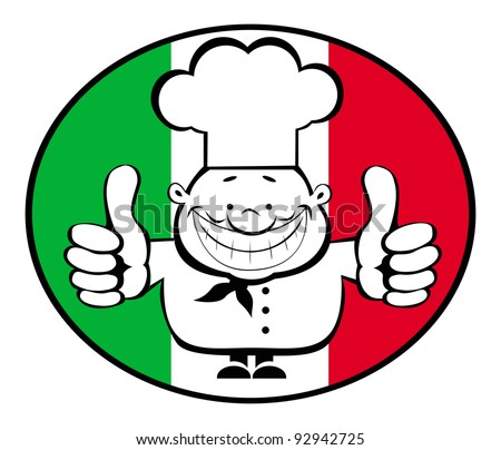 Cartoon smiling chef showing thumbs up on italian flag background. Separate layers - stock vector