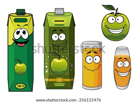 Green Juice Cartoon Cartoon Smiling Green Apple