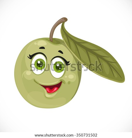 Cartoon smiling olive isolated on white background - stock vector