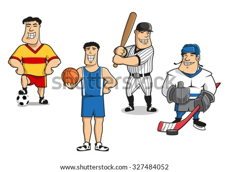 Cartoon smiling professional football, basketball, baseball and ice hockey player characters in sporting uniform with balls, bat, stick and puck.  For sport game theme design - stock vector