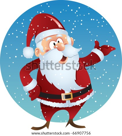 Cartoon smiling Santa claus on snow background