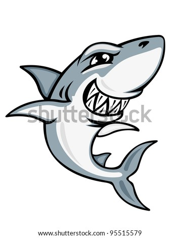 Cartoon smiling shark for mascot and emblem design, such  a logo - stock vector