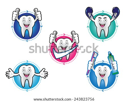 Cartoon Smiling tooth icons set - stock vector