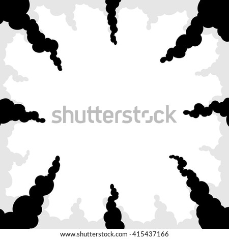 Cartoon smoke or clouds rays for background. Comics bomb, fire explosion trace for backdrop. Black, gray and white colors. Collection of petard or dynamite power smoke elements. Vector illustration.
