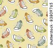 cartoon sneakers seamless pattern - stock vector