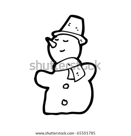 cartoon snowman - stock vector