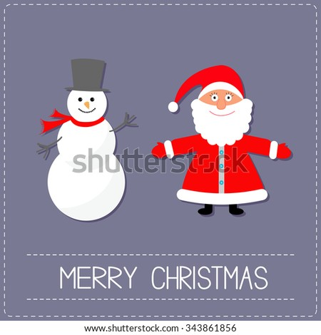 Cartoon Snowman and Santa Claus. Violet background. Dash line. Merry Christmas card. Flat design Vector illustration - stock vector