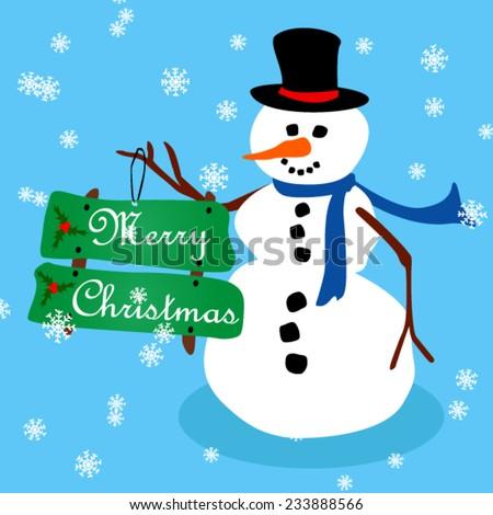 Cartoon snowman holding Merry Christmas sign, flat card - stock vector