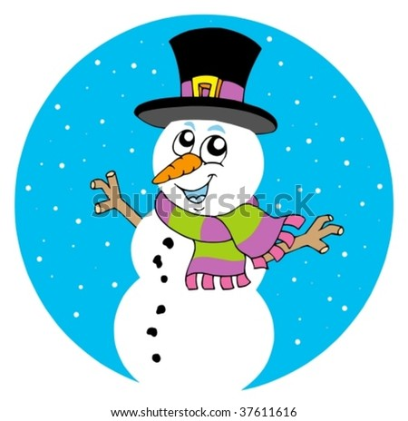 Cartoon snowman on white background - vector illustration.