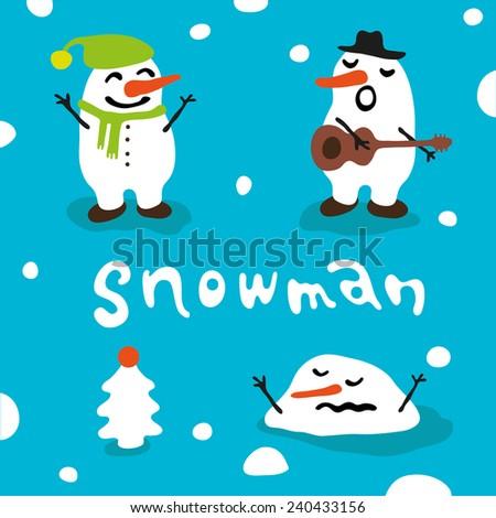 Cartoon snowmen set. - stock vector
