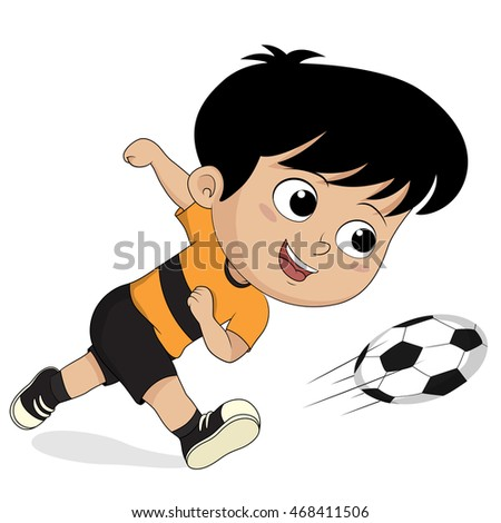 cartoon soccer kids.vector and illustration.