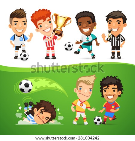 Cartoon Soccer Players and Referee for Your Football Project - stock vector