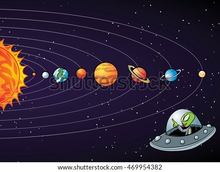 Cartoon solar system with planets in a row
