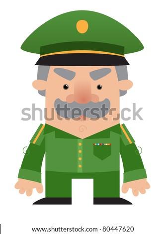 Cartoon soldier Officer - stock vector