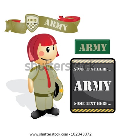 Cartoon soldier Officer woman - stock vector