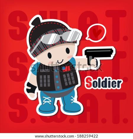 cartoon soldier with a gun sticker vector style - stock vector