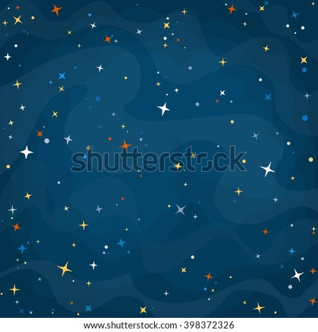 Cartoon space background with colorful stars. Night starry sky. Vector illustration. - stock vector